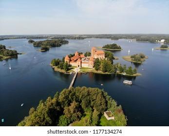 Aerial view of Trakai castle (island castle) in Trakai, Lithuania