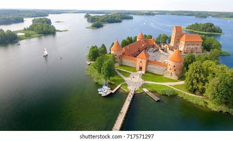 Aerial view of Trakai Castle, Lithuania.