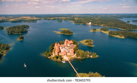 Aerial view of Trakai castle in Lithuania