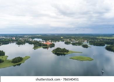 Aerial view of Trakai Island Castle and lake Galve, Lithuania
