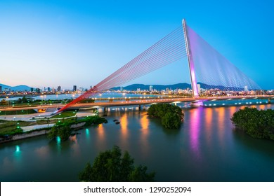 Aerial view Tran Thi Ly Bridge, Han driver in Da Nang City, Vietnam