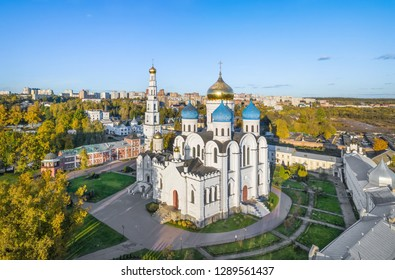Aerial view of Transfiguration Cathedral in Ugresha Monastery, Dzerzhinsky, Moscow oblast, Russia