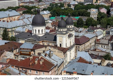 Aerial view of Transfiguration Church in lviv City, Ukraine