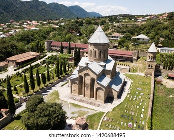 Aerial view to Transfiguration Church. Samtavro Monastery has Living Pillar and the particle of the relics of the two saints of the thirteen Syrian Fathers. Mtskheta, Georgia