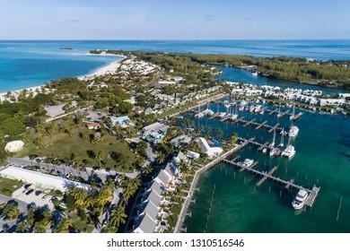 Aerial view of the Treasure Cay Marina  and resort on the island of Abaco, Bahamas.