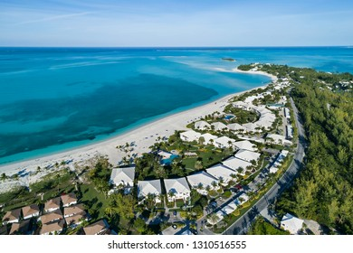 Aerial view of the Treasure Cay Resort beach on the island of Abaco, Bahamas.