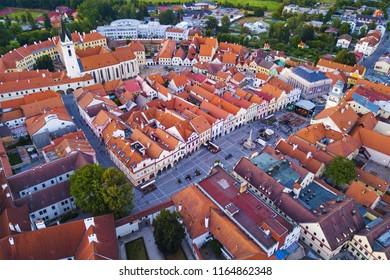Aerial view of Trebon. Trebon is historical town in South Bohemia, Czech republic, European union. Trebon city is famous tourist destination with many landmarks and lakes around.