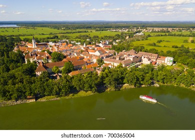 Aerial view of Trebon from pond Svet. Trebon is historical town in South Bohemia, Czech republic, European union. Trebon city is famous tourist destination with many landmarks and lakes around.