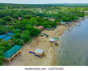 Aerial view of tree-covered beaches of Laiya, Batangas