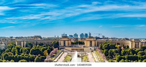 Aerial view of Trocadero as seen from the Eiffel Tower with La Defense a financial center  in the background in Paris, France