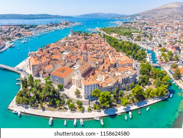 Aerial view of Trogir in summer, Croatia