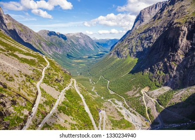 Aerial view of Trollstigen (Trolls Path) serpentine road, a popular tourist attraction in Rauma Municipality, Møre og Romsdal county, Norway, Scandinavia