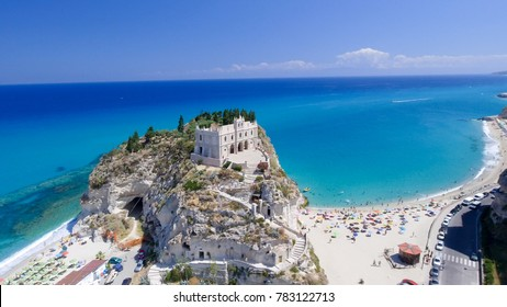 Aerial view of Tropea coastline in Calabria, Italy.