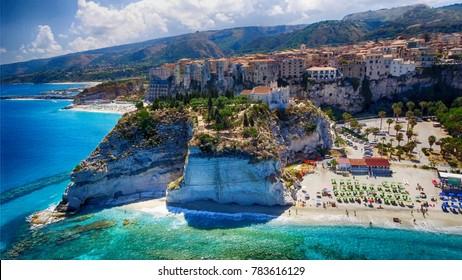 Aerial view of Tropea coastline in Calabria, Italy.
