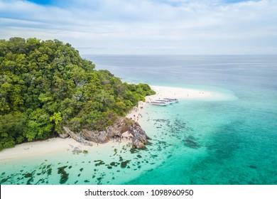 Aerial view of tropical beach Andaman Sea at Koh Khai near Koh Lipe in Satun, in Thailand.