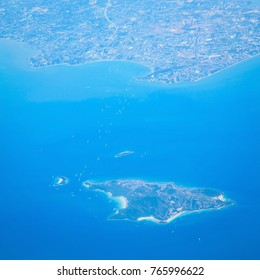 Aerial view of the tropical island background.