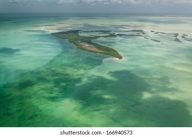 Aerial view of tropical island in the barrier reef off the coast of Belize
