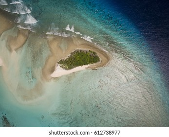 Aerial view of Tropical island and coral reef