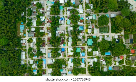 Aerial view of tropical island inhabited island of Maldives