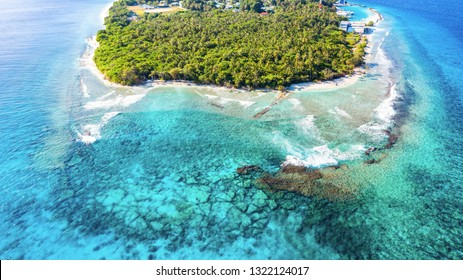 An aerial view of tropical island of Maldives