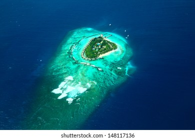 aerial view of tropical island in Maldives