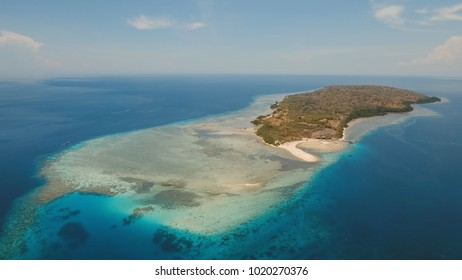 Aerial view tropical island Menjanga with white sand beach. Coral reef, atoll on Menjangan, colorful reef and perfect snorkeling and scuba diving. Seascape, ocean and beautiful beach paradise. Travel