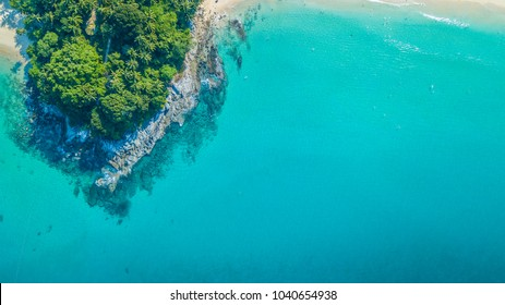 Aerial view Tropical island with white sand beach and blue clear