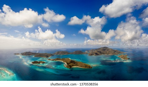Aerial view of tropical islands in the British Virgin Islands