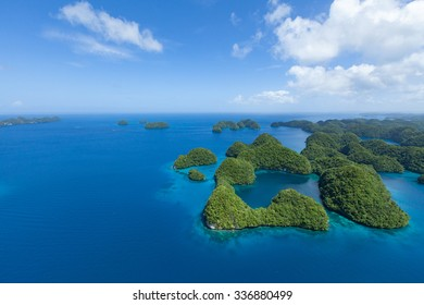 Aerial view of tropical islands with copy space, Palau, Micronesia
