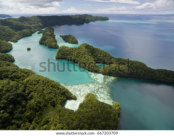 Aerial view of tropical islands and lagoon.