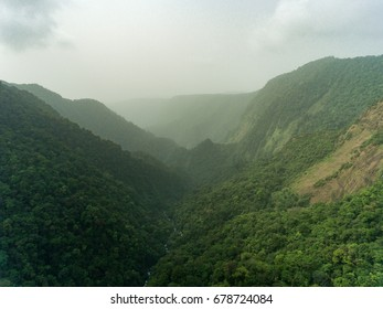 Aerial view of tropical mountains in Equatorial Guinea