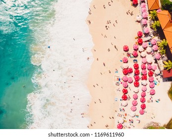 Aerial view of tropical sandy beach with turquoise ocean. Dreamland beach, Bali.
