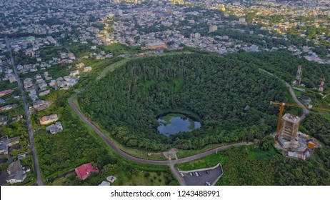Aerial view of 'Trou aux Cerfs' dormant volcano crater located in Curepipe, Mauritius