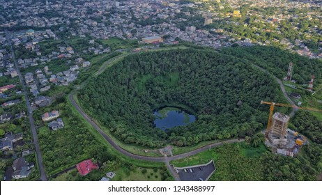 Aerial view of 'Trou aux Cerfs' dormant volcano crater located in Curepipe, Mauritius