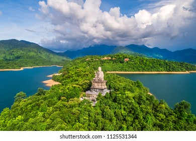 Aerial view of Truc Lam Bach Ma monastery in Truoi lake, Bach Ma mountain, Hue, Vietnam.