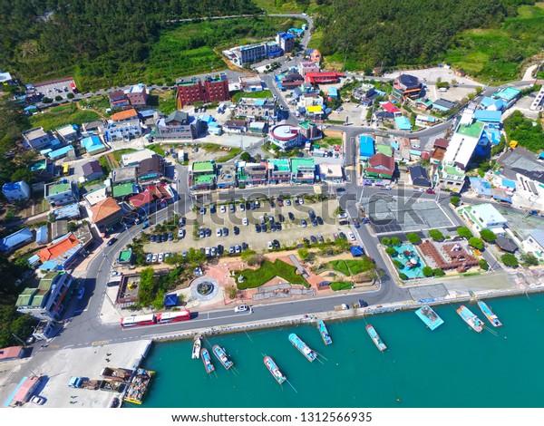 Aerial View Ttangkkeut Village Haenam Jeollanamdo Stock Photo (Edit