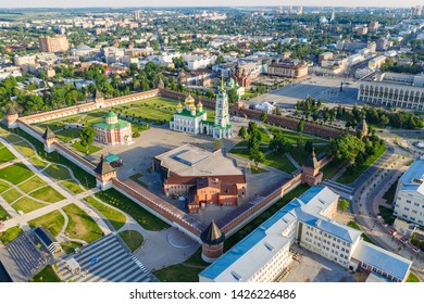 Aerial view of Tula Kremlin and Epiphany Cathedral - ancient Orthodox Church in city downtown, drone photo from above