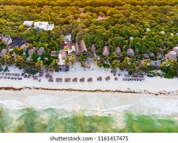 Aerial view of Tulum beach at sunset, Quintana Roo, Mexico