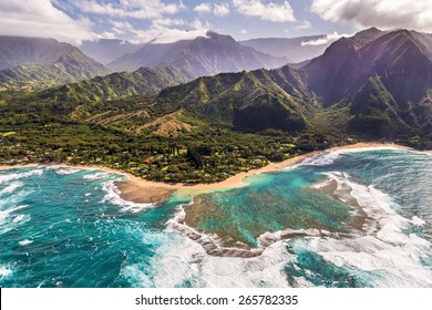 Aerial view of Tunnels beach, Kauai
