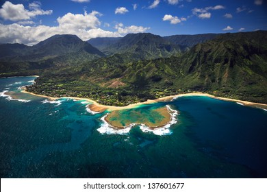 Aerial View of Tunnels Beach and reef system on the Hawaiian Island of Kauai