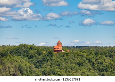 Aerial view to the Turaida castle and hills with forest, Latvia