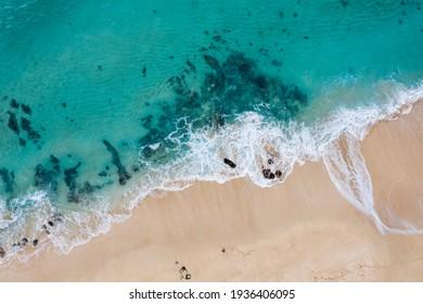 Aerial view of turquoise ocean in Hawaii