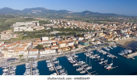 Aerial view of Tuscany port and city skyline.