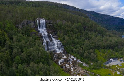 Aerial view of Tvindefossen or Tvinnefossen waterfall near Voss in Norway. July 2019