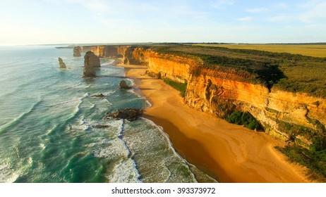 Aerial view of Twelve Apostles at dawn, Australia.