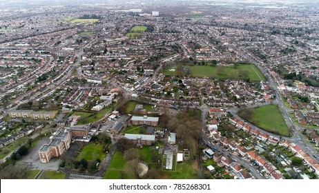 Aerial View of Twickenham in London feat. Residential Urban Suburban Neighborhood Houses and Parks in England UK