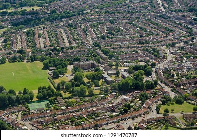 Aerial view of Twickenham in South West London with the historic Kneller Hall in the middle of the image.  The historic mansion is home to the Royal Military School of Music.