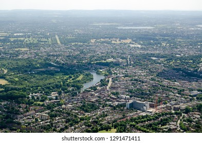Aerial view of Twickenham in South West London with the bend in the River Thames viewed on a sunny summer afternoon.