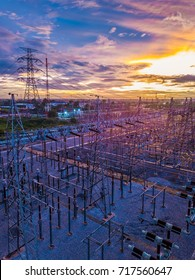 Aerial view of twilight of High voltage substation,Shot from drone, Nonthaburi, Thailand