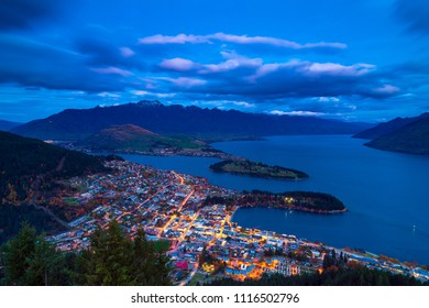 Aerial view in twilight at Queenstown downtown on the lakeside of lake Wakatipu view from Bob's peak, Otago region, South Island, New Zealand.